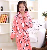 Plus velvet long sleeve children bathrobe
