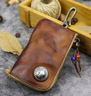 Hand-worn Vegetable-tanned Leather Key Case