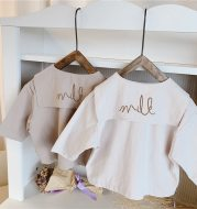 Girls' embroidered large lapel shirt