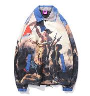 Retro oil painting character print hip hop coat