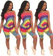 Stylish Tube Top Threaded Shoulder Jumpsuit