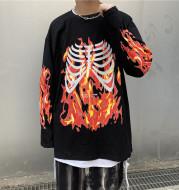 Flame skull print long sleeve T-shirt for men