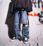 Wide leg jeans with zipper pants