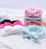 Coral Velvet Bow Cross Hairband