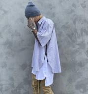 Side zip short sleeve shirt