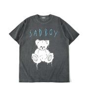 Distressed Teddy Bear Print Men's Short Sleeve