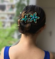 Chinese style retro resin butterfly dish hair clip