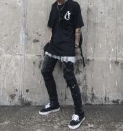Slim-fit stretch-leg jeans with splashed graffiti