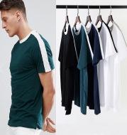 Contrast color stripes simple short sleeve