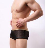 Mesh transparent breathable low waist men's boxer shorts