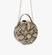 Snake print round oblique cross bag