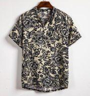 Men's plus size floral short sleeve shirt