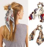 Printed silk scarf large intestine hair ring