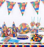 Building block brick theme birthday props