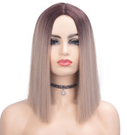 Fashionable gradient mid-length long straight wig