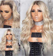 European and American blonde long curly wigs