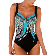 Strap retro printed sexy backless ladies one-piece swimsuit