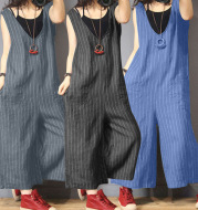 Striped cotton Siamese wide-leg pants
