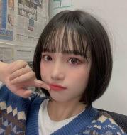 Female short straight hair air bangs
