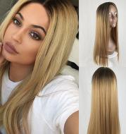 Long straight hair fashion gradient fake hair