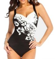 Black and white one-piece swimsuit