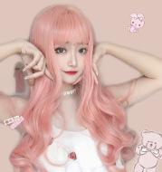 Light pink long curly hair