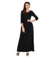Round neck long sleeve plus size dress