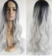 Black silver gray mid-point long curly hair cos fake