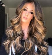 Medium long curly hair wig