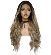Chemical fiber front lace gradient long curly wig
