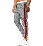Lace Plaid Print Tether Belt Casual Pants