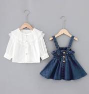 Lace big lapel shirt denim strap dress