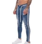 Jeans new hole slim-fit striped men's trousers