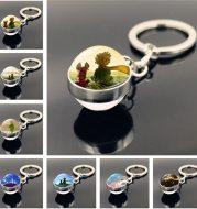 Little Prince Metal Keychain Time Jewel Glass Pendant
