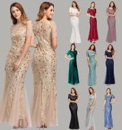 Sequined evening dress fishtail dress