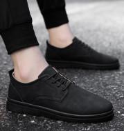 Men's casual black leather shoes