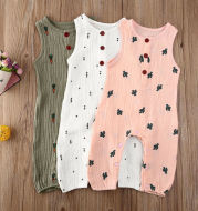 Sleeveless baby cotton jumpsuit