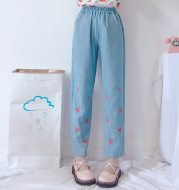 Embroidered strawberry jeans