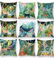 Green peach skin cartoon animal whale cushion cover