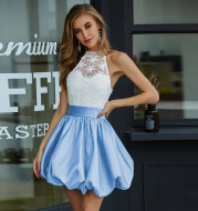 Halter-style petal dress