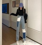 Straight pants stitching loose denim women