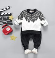 Children's long-sleeved suit printed two-piece casual sweater trousers