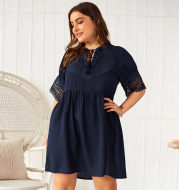 New solid color short sleeve dress
