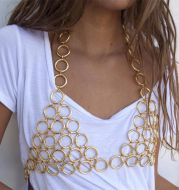 Metal circle hollow hanging neck chest chain