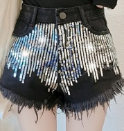 Gold glittered sequined wide-leg shorts