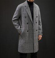 Plaid coat slim slim long trench coat