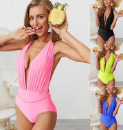 Halter straps ladies one-piece swimsuit