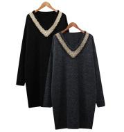 Long-sleeved V-neck beaded dress