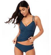 Solid color swimwear female split swimsuit