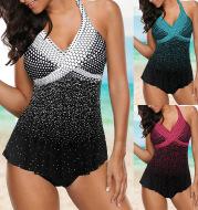 Summer split swimsuit polka dot gradient swimsuit